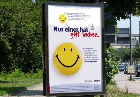 Mit dem Smiley als Millionengeschäft wirbt dresden|exists für Informationen rund zum Thema Gründen. (Foto: MinneMedia GmbH)