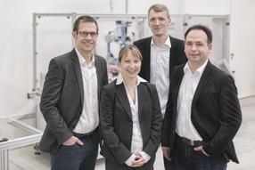 Das Gründerteam von watttron (v.l.n.r) Ronald Claus, Michaela Wachtel, Marcus Stein und Sascha Bach (Foto: Die Pixelschieber)