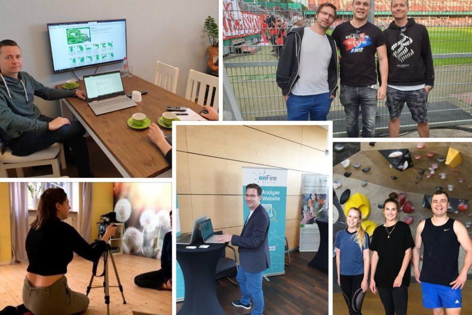 Collage Fotos von Gründern und Mitarbeiter/innen