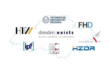 Umriss Dresden mit Logos